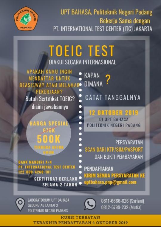 Uji Kemampuan Bahasa Inggris Anda Lewat TOEIC Test di Politeknik Negeri Padang, Ayo Mendaftar...!!
