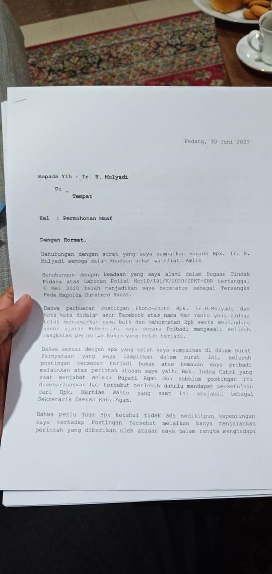 Ini Pernyataan Minta Maaf Pada Mulyadi Eri Syofiar Mengaku Diperintah Indra Catri Sumber Informasi Terpercaya
