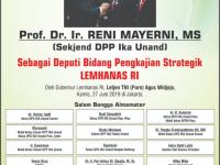 Ucapan Selamat Pelantikan Prof. Reni Mayerni jadi Deputi di Lemhanas  RI